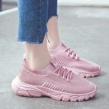 2019 New Women Casual Shoes Fashion Women Sneakers Breathable Mesh Walking Shoes Lace Up Flat Shoes