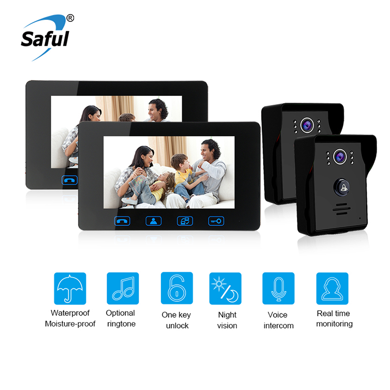 Saful 7Wired Video Door phone Waterproof video doorbell intercom with Night Vision push Button Electric Function door camera