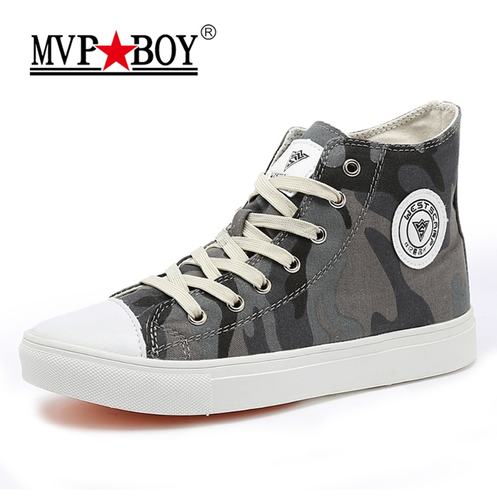 MVP BOY Camouflage Men Canvas Shoes 2018 Fashion High top Mens Casual Shoes Breathable Canvas Man Lace up Brand Shoes