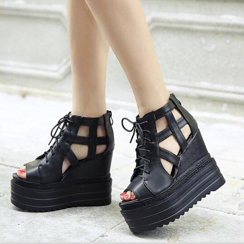 ФОТО wedge shoes platform sandals women shoes woman sandals lace up peep toe women sandals high heels shoes gladiator sandals D995