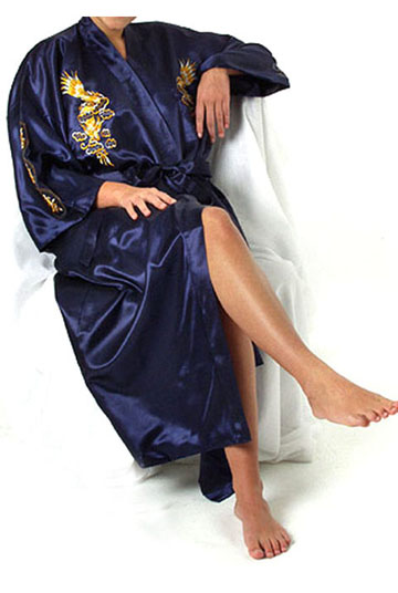 Navy Blue Chinese Women Silk Robe Nightgown Traditional Embroidery Dragon Kimono Bath Gown Sleepwear Size S M L XL XXL A136