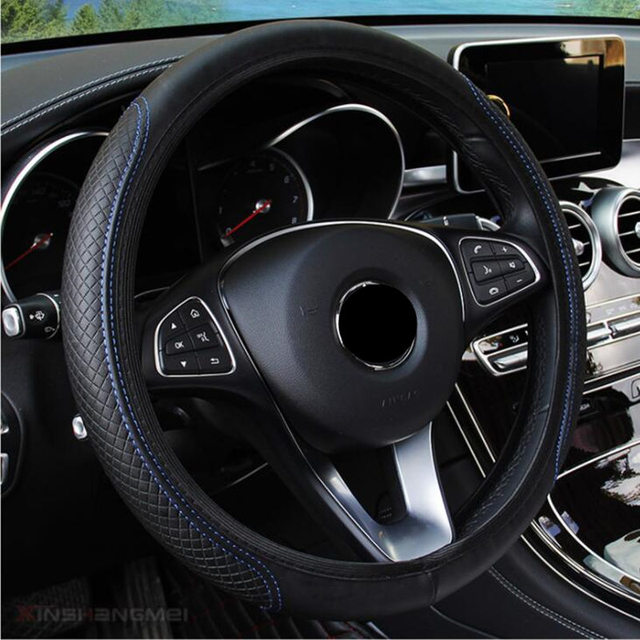 Fashion 6 Colors Car Steering Wheel Cover Volant Artificial Leather Braid on the Steering wheel Funda Volante Auto Car Styling