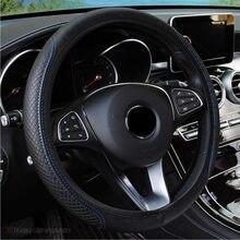 Moda 6 renk araba direksiyon kılıfı Volant suni deri örgü üzerinde direksiyon simidi Funda Volante oto araba Styling
