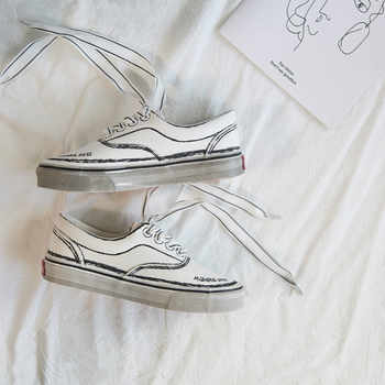Women Sneakers with Bow Female Canvas Shoes Riband Lace Solid Color Lady Casual Shoes Bowknot Silk Ribbon Flat Heel White 35-40
