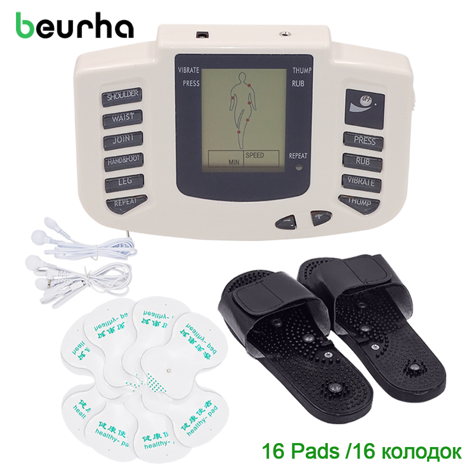 Beurha 16 Electrode Pads Electrical Stimulator Full Body Massage Tens Acupuncture Pulse Pain Relax Russian Button Health Care electrical stimulator full body relax muscle digital massager pulse tens acupuncture with therapy slipper 16 pcs electrode pads