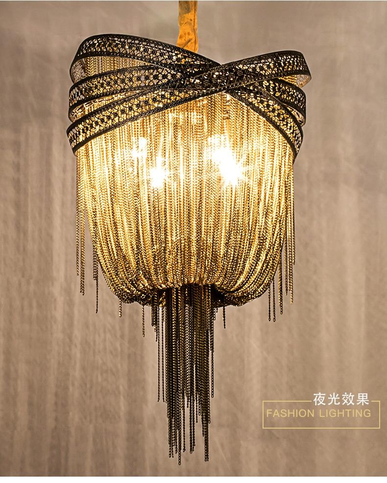 Image 5 - Bronze Modern Aluminum Chandelier Light Italian Tassel Design Chain Lustres Lamp Hanging Lighting for Living room Foyer-in Chandeliers from Lights & Lighting