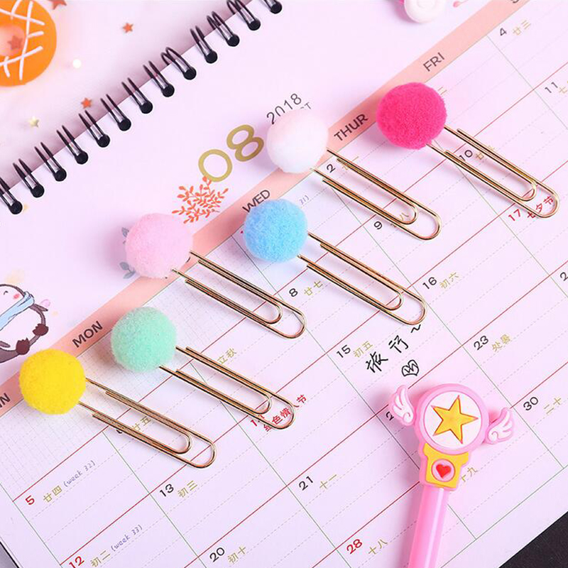 Color Pompom Clip Bookmark Cute Stationery Metal Bookmarks For Book Holder School Supplies Papelaria