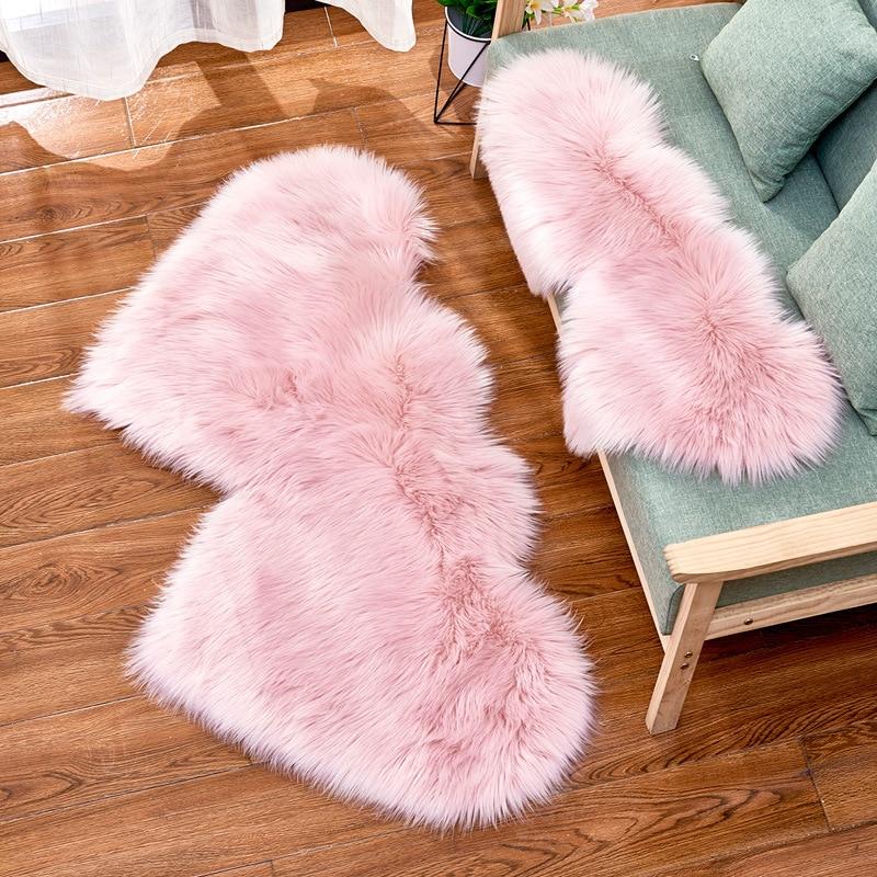 Double Heart Fur Rug Home Decor Faux Fur Carpet Sofa And