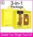 Hoco últimas 3 en 1 paquete doble Tour Singe recorrido del pun ¢ o banda de cuero para Apple reloj 38 mm 42 mm por por primera capa de piel de becerro