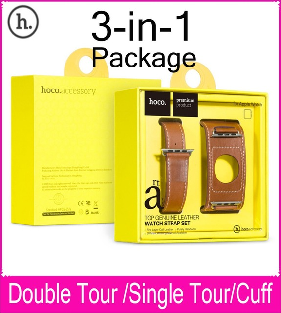 Hoco Latest 3 In 1 Package Double Tour Singe Tour Cuff Leather Band For Apple Watch 38mm 42mm Made By First Layer Calf Leather