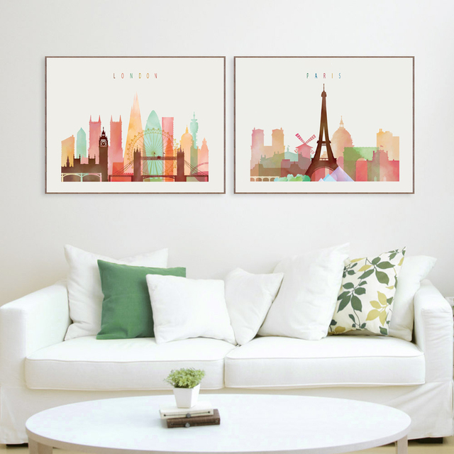 London Paris New York Paintings Nordic Decoration Canvas Minimalist Wall Art Picture Painting Living