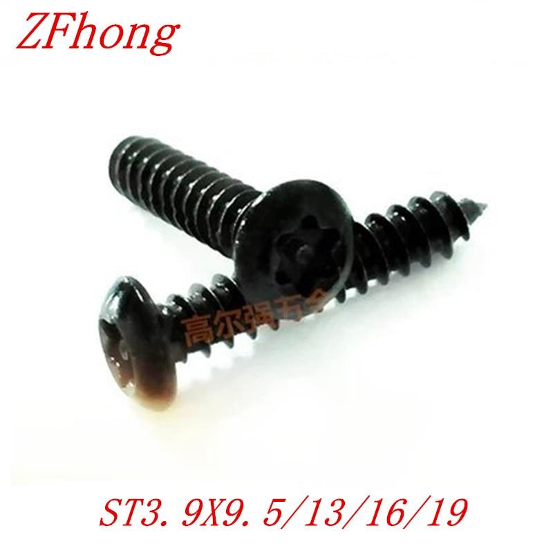 купить 100pcs/lot ST3.9*9/13/16/19/25/32 M4 Six-Lobe black Torx pan head self tapping screw недорого