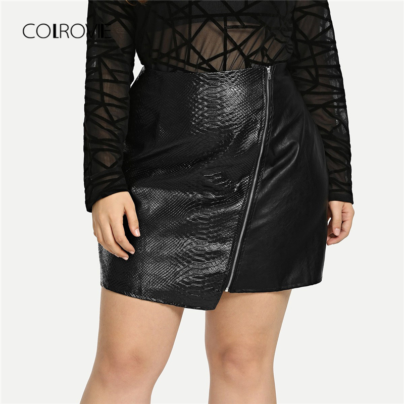 COLROVIE <font><b>Plus</b></font> <font><b>Size</b></font> Black Solid Zipper <font><b>Sexy</b></font> Korean Leather <font><b>Skirt</b></font> Women Autumn Female Office A-line Elegant Mini <font><b>Skirts</b></font> image