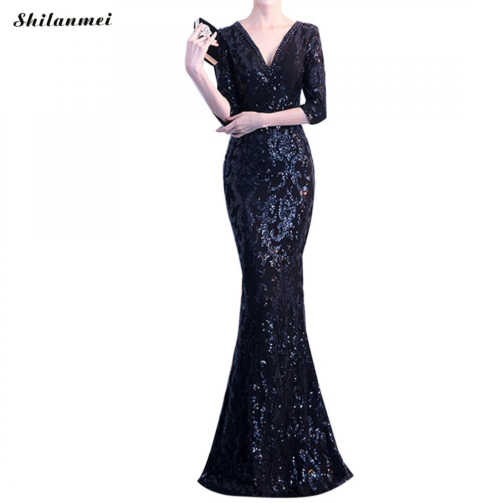 Elegant Woman Half Sleeve Floor Length Mermaid Long Evening Prom Party Dress Side Slit Sequin Female Beading Fashion Dresses