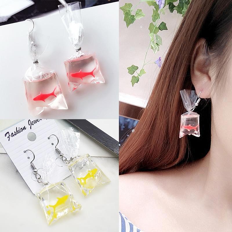 Sale 1Pair New Design Koi Fish Jewelry Earrings Plastic Elegant Long Drop Women Female Fashion Ear Hoop Gift