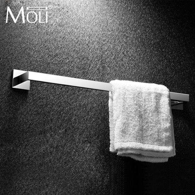 Stainless Steel Single Towel Bar Square Rack In The Bathroom Wall Mounted Holder