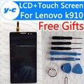 Para lenovo k910 exibição novo display lcd + de tela de toque para o lenovo k910 vibe z telefone em estoque frete grátis