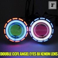 Xplus H1 H7 HB3 HB4 9005 9006 8000K 6000K 4300K Bulb 3 inch Bi Xenon Lens Projector CCFL Double Angel Eyes 55/35W headlight