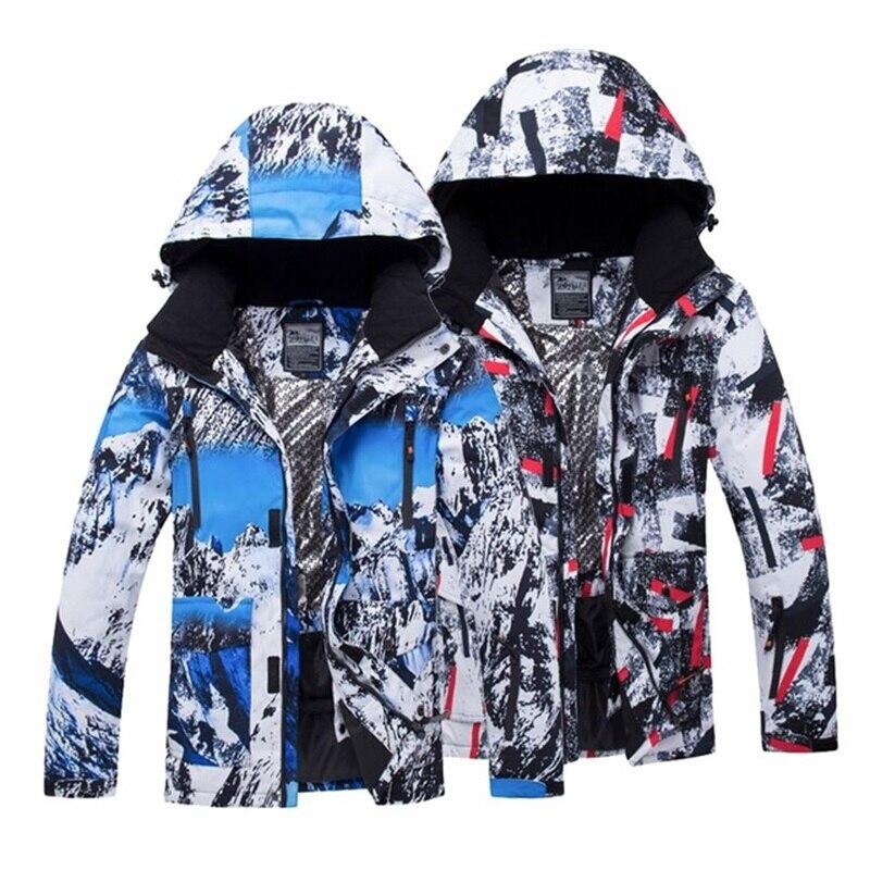 Hommes Ski Vestes Imprimé Imperméable Coupe-Vent Mâle Ski Snowboard Vestes D'hiver En Plein Air Sport Hommes de Camping Randonnée Manteaux