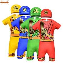 Ninjago Costume Cosplay Boys Swimming For Kids Fancy Party Dress Up Ninja Swimsuit Superhero Suit Cap