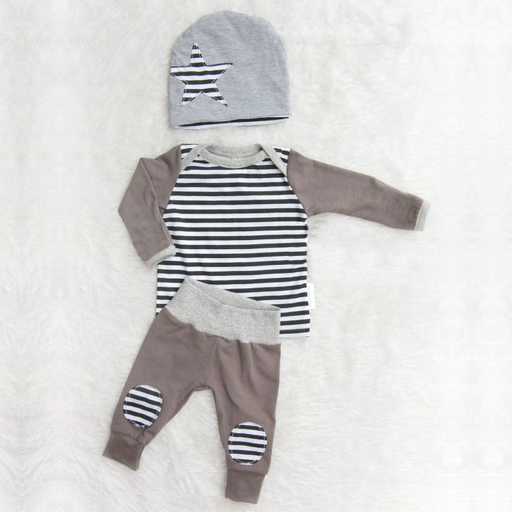 Newborn Baby Girl Boy Clothes Long Sleeve Tops Striped Tops + Pants Cotton Hat Star 3pcs Baby Boys Clothing Outfits Set 3pcs set newborn baby boys girls clothes set tops rompers cotton pants leggings hat outfits clothing baby boy 0 18m