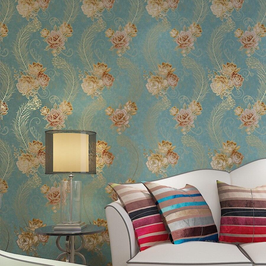 aliexpress : europäischen luxus bronzing blumentapete rose, Schlafzimmer entwurf