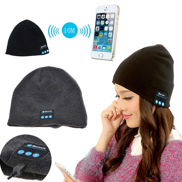 fc071ab6c42 New Fashion Skullies And Beanies Soft Warm Knitted Hat Wireless Bluetooth  Headset Headphone High-Tech