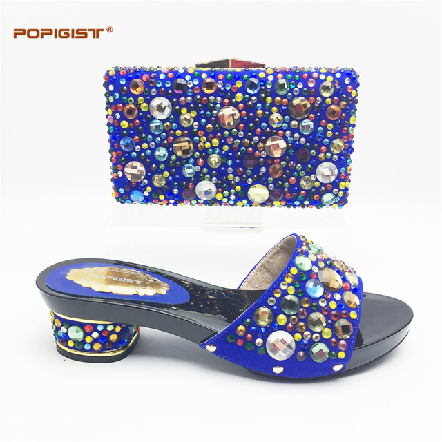 African Women Shoes And Bag Set Party Shoes Italian Shoes And Bags To Match  For Ladies Royal Blue With Big Crystal Shining Shoes f88a137e03e1