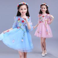 2018 New Flowers Cinderella Girls Dress Snow White Princess Dresses For Girls Lace Flower Wedding Children Cosplay Kids Clothing