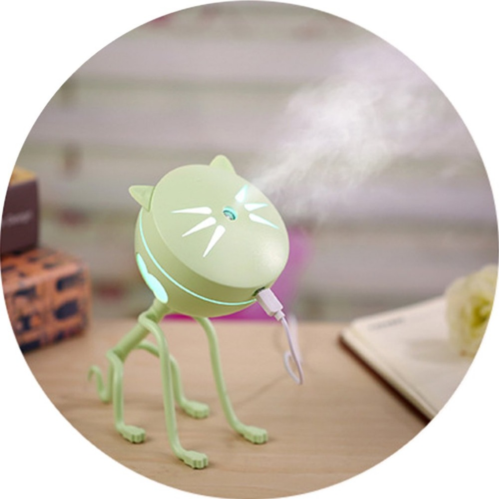 Mini USB Charging Desktop Air Humidifier With Colorful Night Light Portable Cute Kitten Humidifier For Home Office portable mini air humidifier purifier night light with usb for home office decorations