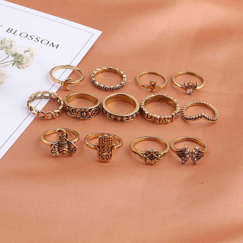 חם Vintage פיל עתיק זהב כסף צבע נשים Midi טבעות סט סגול אבן נוצת כתר 13 יח'\סט Boho טבעת תכשיטים