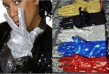 Adult Acting Michael Jackson Cos Paillette Gloves MJ Sequins Performing Gloves in Stage Gloves For Men Women