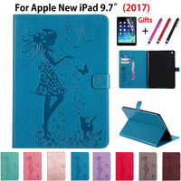 Cute Girl Cat Embossed Silicone PU Leather Case For Apple New IPad 9 7 2017 Cases