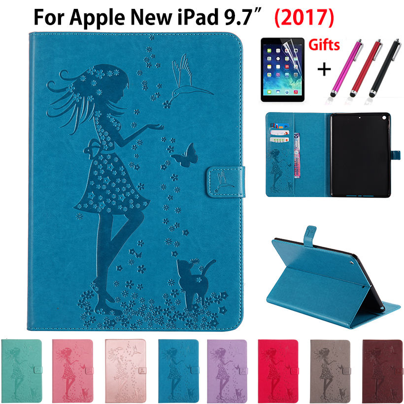 Cute Girl Cat Embossed Silicone PU leather Case For Apple New iPad 9.7 2017 Cases Cover A1822 Funda Tablet Capa Shell +Film +Pen nice soft silicone back magnetic smart pu leather case for apple 2017 ipad air 1 cover new slim thin flip tpu protective case