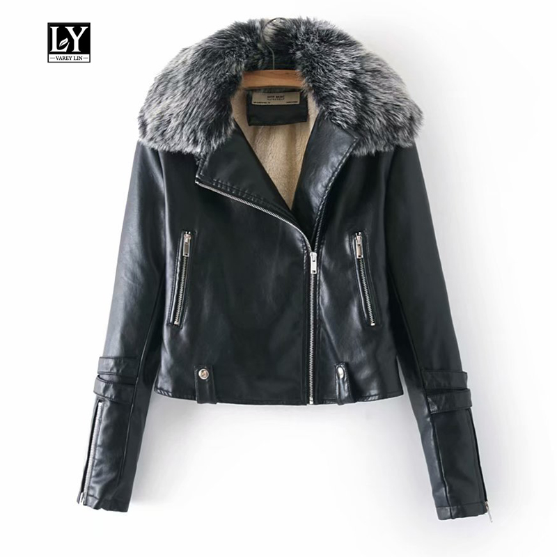 Ly Varey Lin Women Winter Faux Leather Jacket Pu Motorcycle Short Jacket Faux Soft Leather Large Fur Collar Black Wine Red Coats