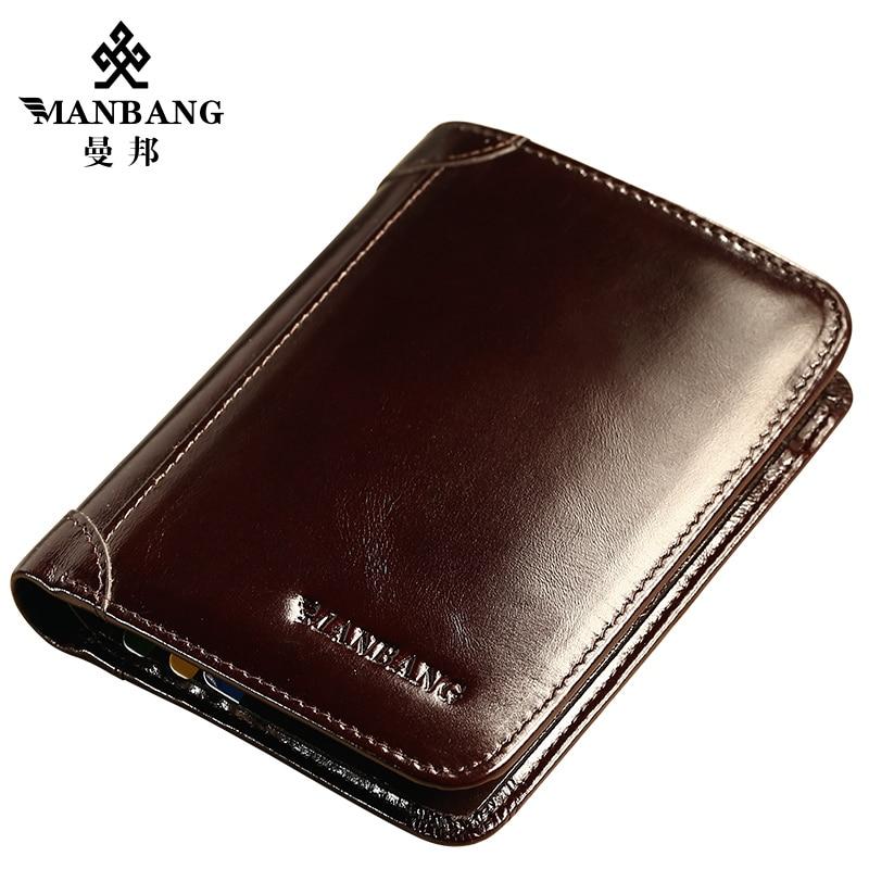 ManBang Wallet Genuine Leather Men Wallets Short Male Purse Card Holder Wallet Men Fashion High Quality GIft For Men