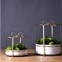 Gold planters flower vase home decor modern metal gold wire vases