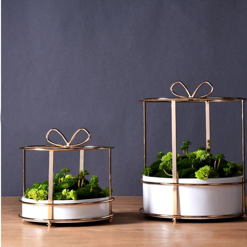 Gold Planters Flower Vase Home Decor Modern Metal Gold Wire Vases In