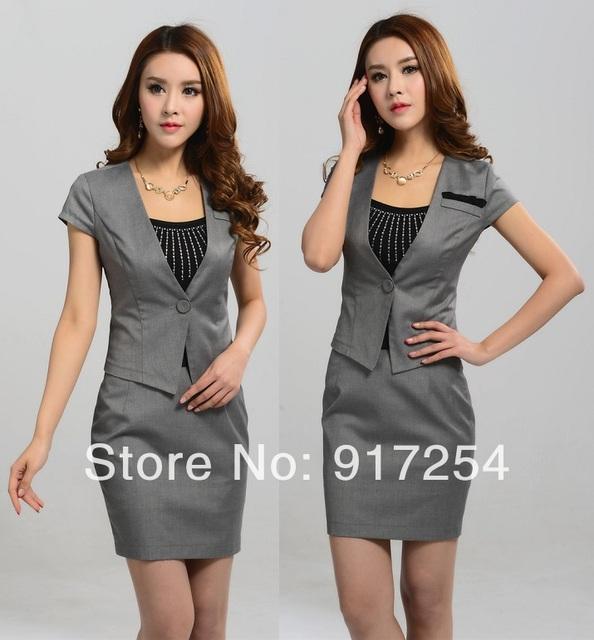 New elegante Plus Size XXXL manga curta verão moda mulheres ternos Blazer e saia conjuntos de negócios SuitsCareer cinza S-XXXL