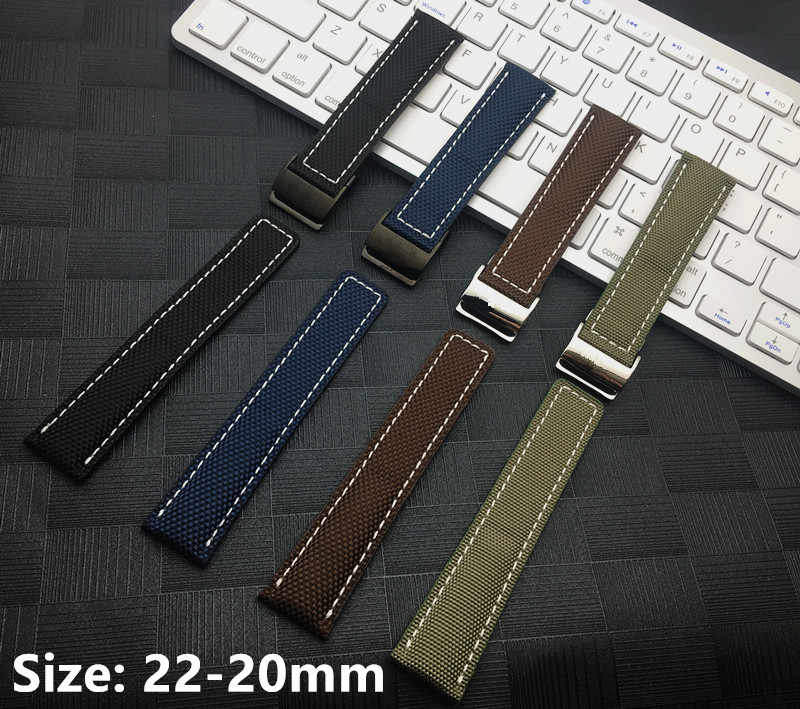 Bracelet Nylon fabric leather stiching Watch Band For Breitling strap for Avenger Super Ocean Watchband Sport 22mm free Tool