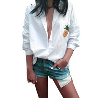 2017 Hot Sale Casual Blusas Mulheres Manga Comprida Lapela Collar Camisas Brancas Outono/Primavera OL Senhoras Abacaxi Camisa Bolso Tops # LH