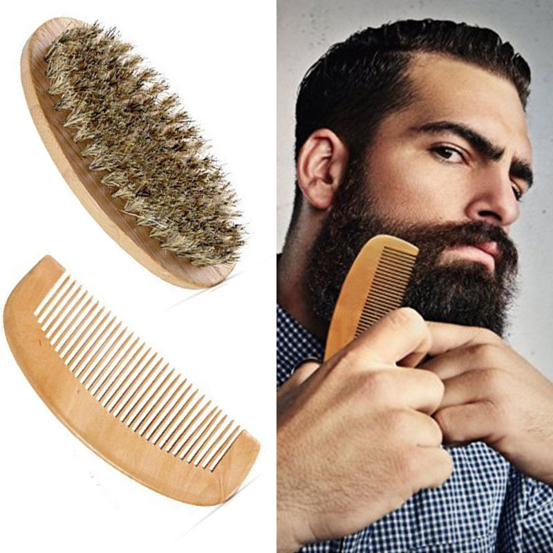 Boar Bristle Beard Brush and Handmade Beard Comb Kit for Men Beard Mustache macadamia boar bristle paddle brush