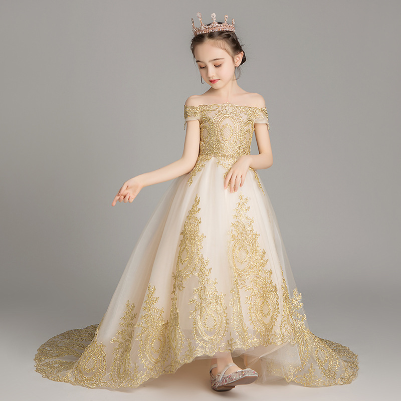 Romantic Flower Girl Wedding Bridesmaid Dress 2019 New Bead Decoration Long Lace Dress Flower Girl Party Dress