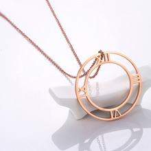 Funy Double round Rose gold Unisex Pendant Necklaces for women men High quality jewelery Stainless Steel Creative Classic