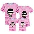 2016 familia coincidencia ropa camisetas niños padre madre calidad nuevas camisetas de algodón family look camiseta del color del caramelo ropa fiesta