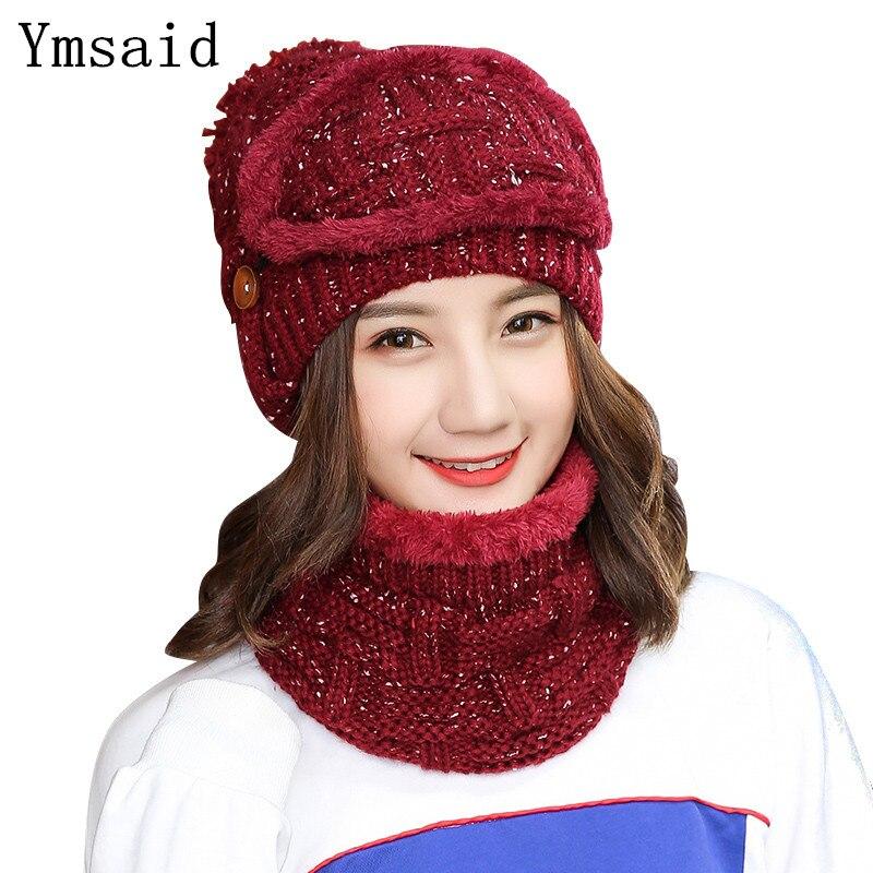 Ymsay 2018 gorras de invierno de esquí de moda de mujer bufanda y sombreros  tejidos calientes conjunto de gorro de ganchillo gorros de Cachemira de  mujer ... 6583f32237f