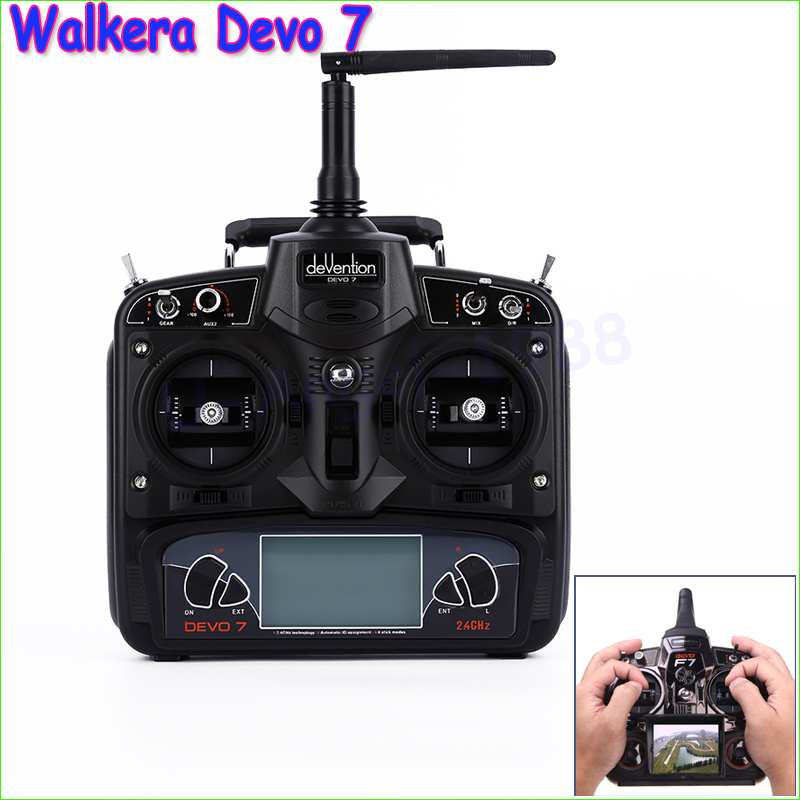 1pcs Walkera RC drone Remote Control Devo 7 DEVO7 transmitter 7 Channel DSSS 2.4G Transmiter mini drone rc helicopter quadrocopter headless model drons remote control toys for kids dron copter vs jjrc h36 rc drone hobbies