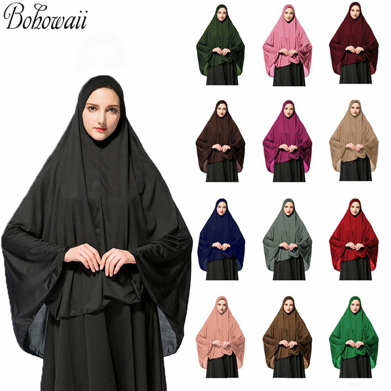 Muslim Islamic Ramadan Woman Long Khimar Hijab Solid Soft Prayer Hijab Elegant Modest Lightweight Prayer Garment