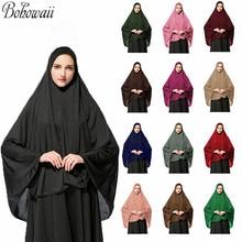 Muslim Islamic Ramadan Woman Long Khimar Hijab Solid Soft Prayer Hijab Elegant Modest Lightweight Prayer Garment