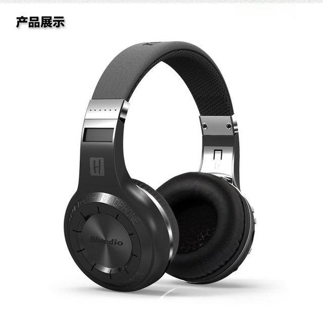 Orignal bluedio h + mãos livres bluetooth fone de ouvido sem fio de música super bass fones de ouvido com microfones de tomada line-in tf slot para cartão